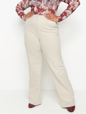 Wide white corduroy trousers with high waist - Light Beige
