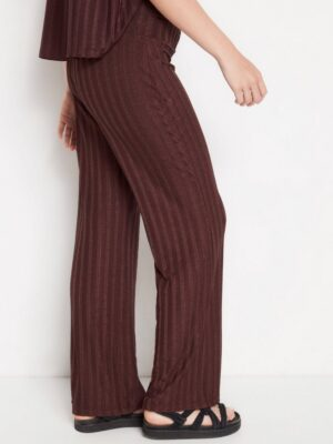 Ribbed trousers with lustre - Brown